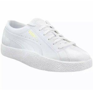 New Puma Love Patent Lace Up White Sneakers 372854
